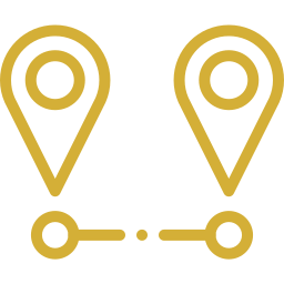 An icon depicting two points on a map with a line between them.