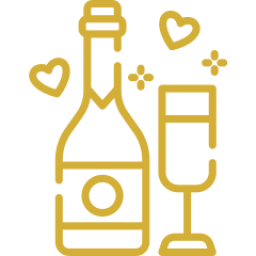 An icon depicting a champagne bottle with a glass.