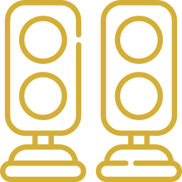 An icon depicting a pair of speakers.